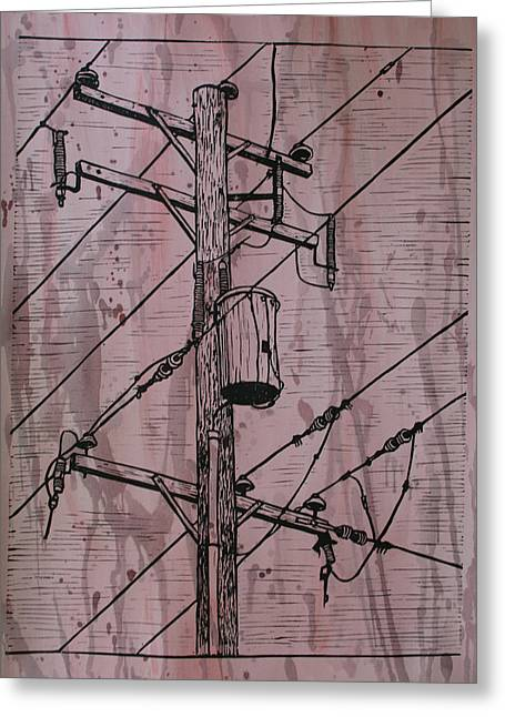 Linoleum Block Print Greeting Cards - Pole with Transformer Greeting Card by William Cauthern
