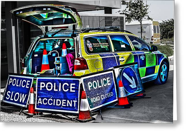 Police Stop Greeting Cards - Police Accident Greeting Card by Paul Howarth