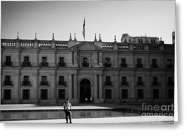 Police District Greeting Cards - police and guards outside palacio de la moneda palace Santiago Chile Greeting Card by Joe Fox