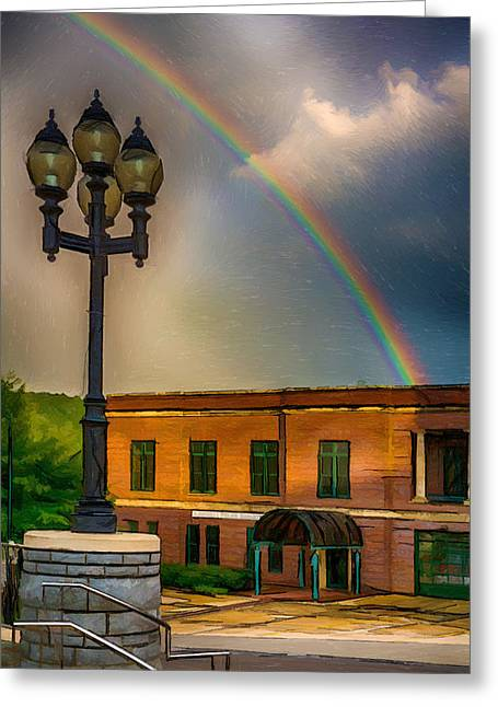 Police District Greeting Cards - Police at the End of the Rainbow Greeting Card by John Haldane