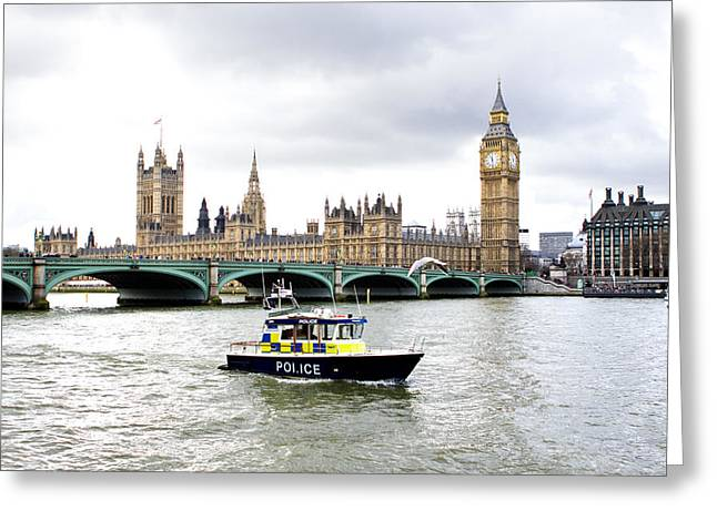 Police Officer Greeting Cards - Police boat on the river thames outside parliment Greeting Card by Fizzy Image