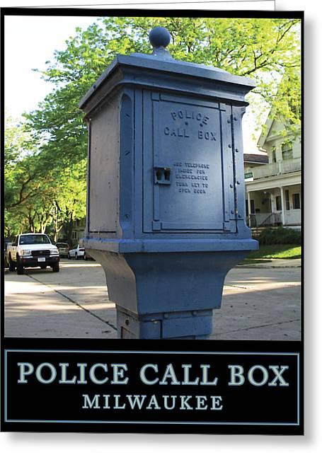 Call Box Greeting Cards - Police Call Box Milwaukee Greeting Card by Geoff Strehlow