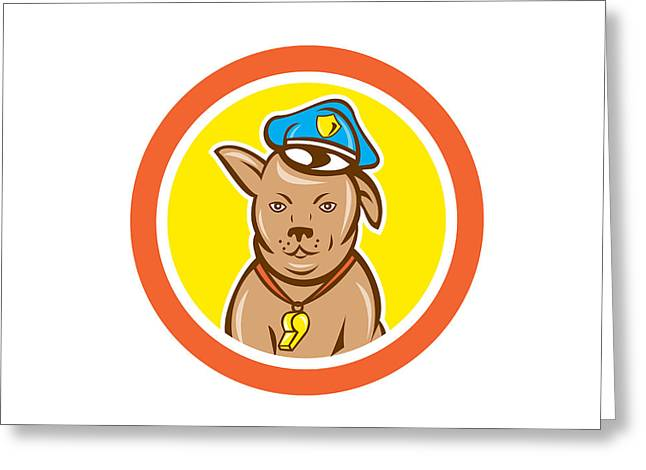 Police Cartoon Greeting Cards - Police Dog Canine Circle Cartoon Greeting Card by Aloysius Patrimonio