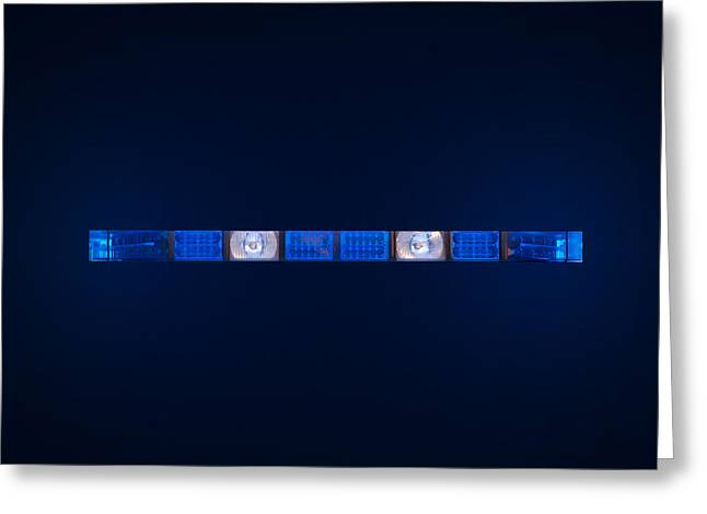 police emergency lights with blue surrounding light Greeting Card by Fizzy Image
