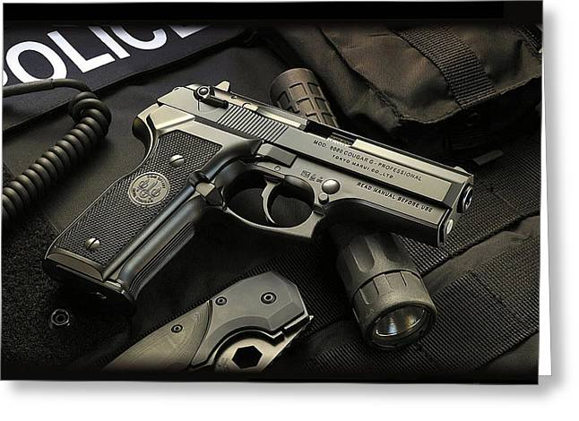 Police Art Greeting Cards - Police Gear Guns Ammo Greeting Card by Marvin Blaine