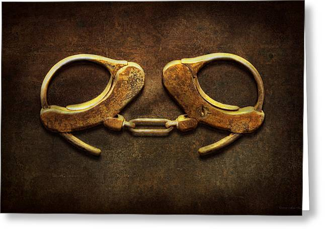 Fetters Greeting Cards - Police - Handcuffs arent always a bad thing Greeting Card by Mike Savad