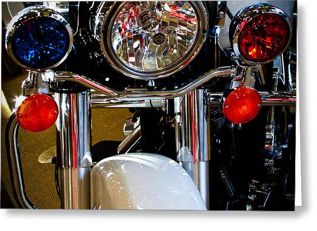 Police Harley Greeting Card by David Patterson