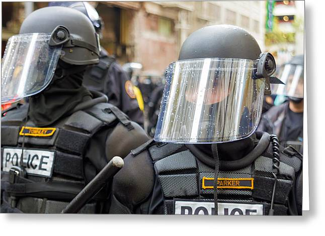 Police Baton Greeting Cards - Police in Riot Gear Closeup Greeting Card by JPLDesigns