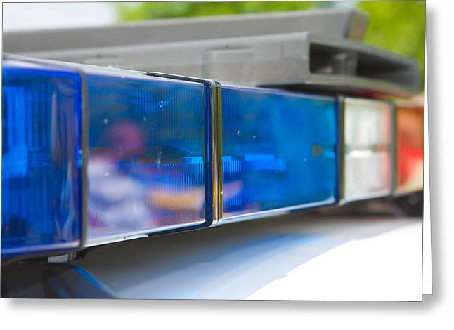 Police lights Greeting Card by Fizzy Image