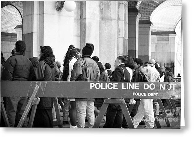 Police Line 1990s Greeting Card by John Rizzuto