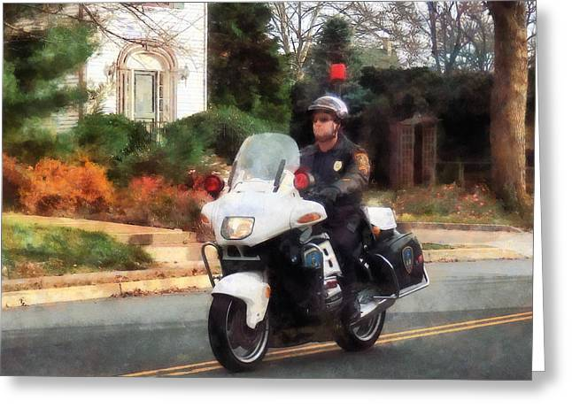 Police Officer Greeting Cards - Police - Motorcycle Cop on Patrol Greeting Card by Susan Savad