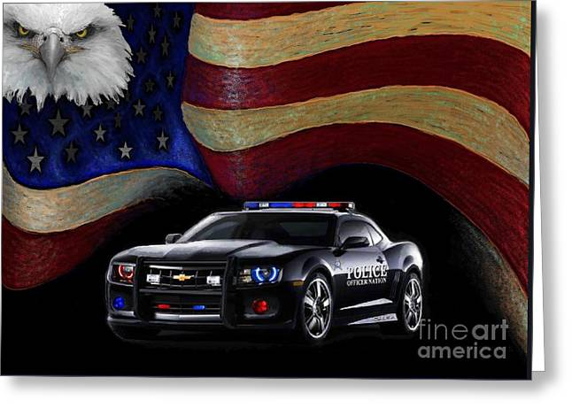 Police Nation Usa Greeting Card by Craig Green