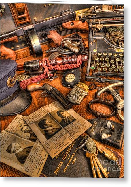 Twentieth Century Greeting Cards - Police Officer - The Detectives Desk  Greeting Card by Lee Dos Santos