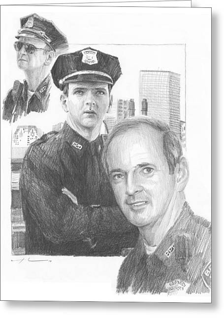 Police Officer Drawings Greeting Cards - Police Officer Retired Pencil Portrait Greeting Card by Mike Theuer