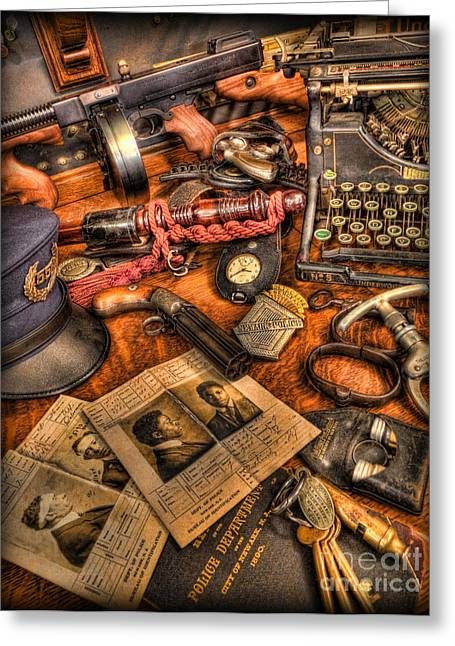 Police Baton Greeting Cards - Police Officer- The Detectives Desk II Greeting Card by Lee Dos Santos
