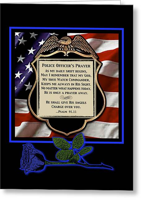 Recently Sold -  - Angel Blues Greeting Cards - Police Officers Prayer Greeting Card by Rose Borisow