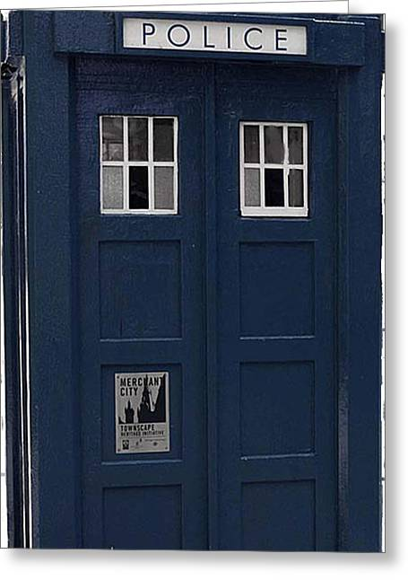 Police Phone Box Greeting Card by Philip Ralley