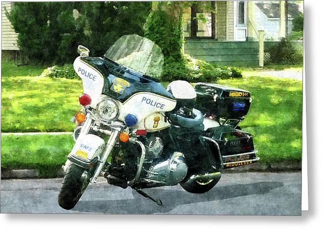Policemen Greeting Cards - Police - Police Motorcycle Greeting Card by Susan Savad