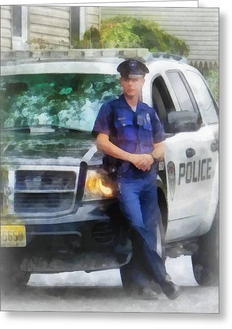 Police Greeting Cards - Police - Policeman by Patrol Car Greeting Card by Susan Savad