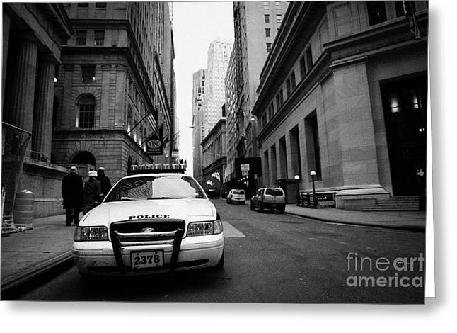 Manhaten Greeting Cards - Police squad car on Wall Street new york city Greeting Card by Joe Fox