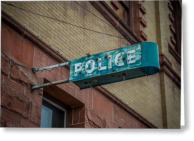 Law Enforcement Art Photographs Greeting Cards - Police Station Sign Greeting Card by Paul Freidlund