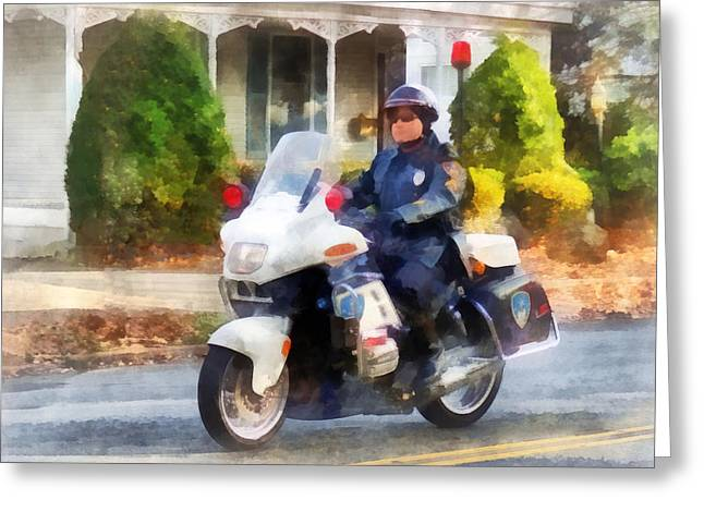 Police - Suburban Motorcycle Cop Greeting Card by Susan Savad