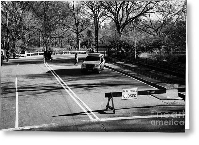 Manhaten Greeting Cards - police SUV car patrol with park drives closed sign at the entrance to Central Park new york city Greeting Card by Joe Fox