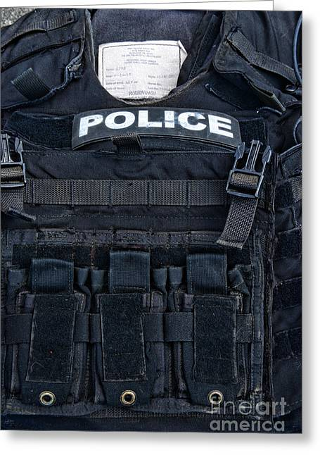 Police Officer Photographs Greeting Cards - Police - The Tactical Vest Greeting Card by Paul Ward