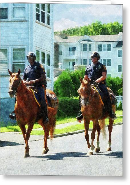Police Officer Greeting Cards - Police - Two Mounted Police Greeting Card by Susan Savad