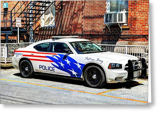 Police Car Greeting Cards - Police Vehicle Only Greeting Card by Mel Steinhauer