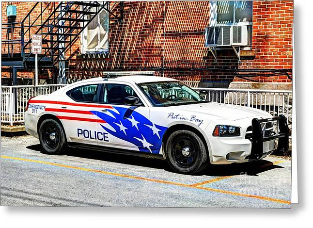Police Vehicle Only Greeting Card by Mel Steinhauer