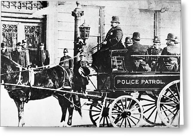 Police Wagon Greeting Card by Granger
