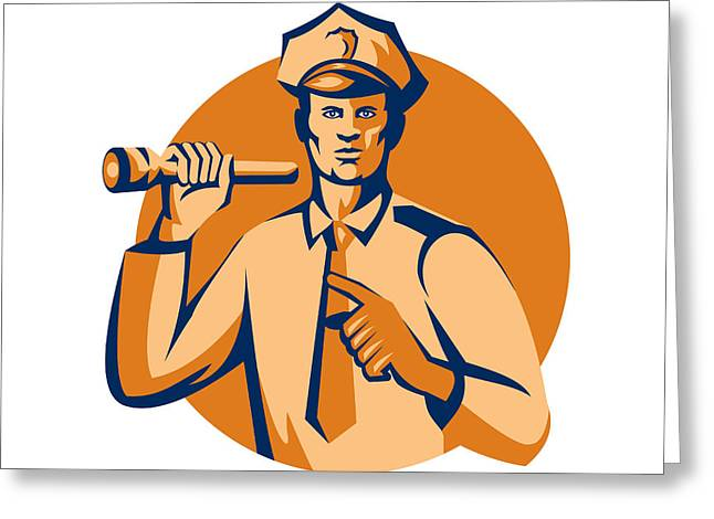 Police Officer Greeting Cards - Policeman Flashlight Torch Pointing Retro Greeting Card by Aloysius Patrimonio