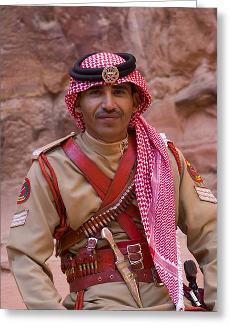 Jordan Photographs Greeting Cards - Policeman in Petra Jordan Greeting Card by David Smith