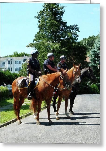 Policewoman Greeting Cards - Policeman - Mounted Police Profile Greeting Card by Susan Savad