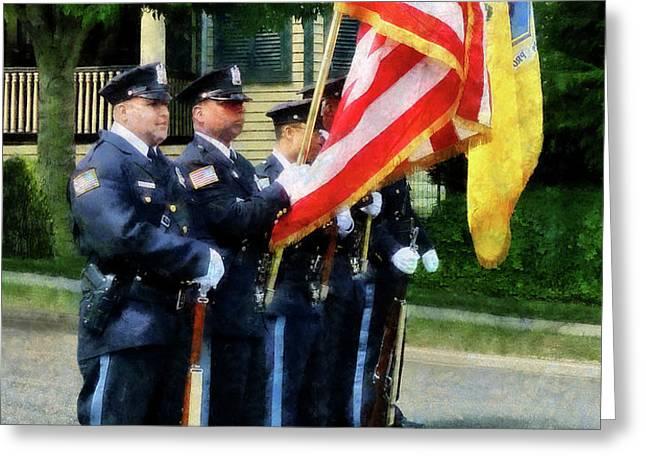 Policeman - Police Color Guard Greeting Card by Susan Savad