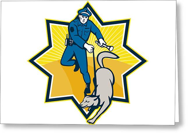 Policeman Police Dog Canine Team Greeting Card by Aloysius Patrimonio