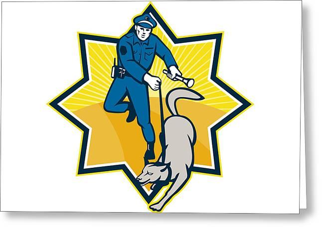 Policeman Police Dog Canine Team Greeting Card by Aloysius Patrimonio
