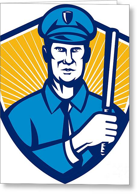 Police Baton Greeting Cards - Policeman Police Officer Baton Shield Retro Greeting Card by Aloysius Patrimonio