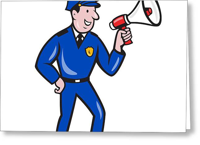 Police Cartoon Greeting Cards - Policeman Shouting Bullhorn Isolated Cartoon Greeting Card by Aloysius Patrimonio