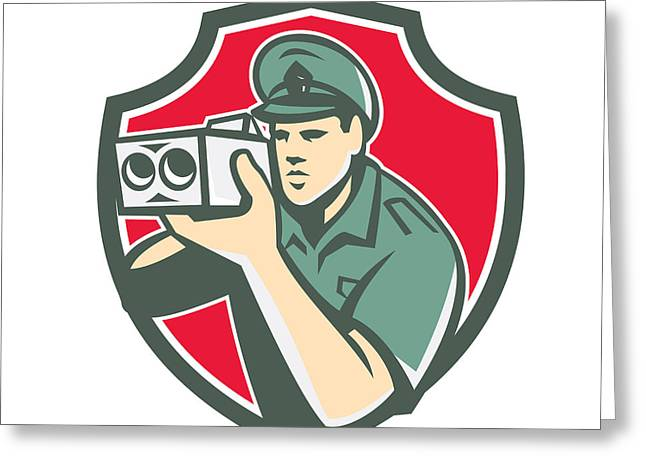 Policeman Speed Camera Shield Retro Greeting Card by Aloysius Patrimonio