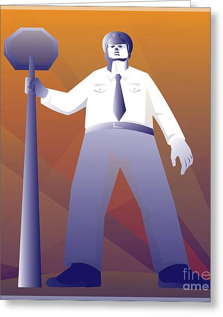 Police Officer Greeting Cards - Policeman Standing With Stop Sign Retro Greeting Card by Retro Vectors