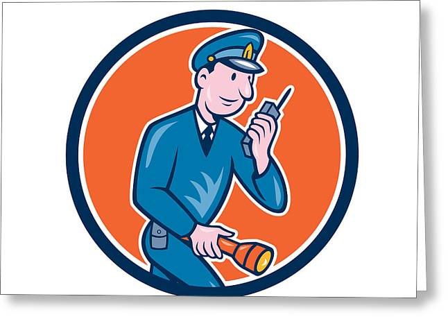 Police Officer Greeting Cards - Policeman Torch Radio Circle Cartoon Greeting Card by Aloysius Patrimonio