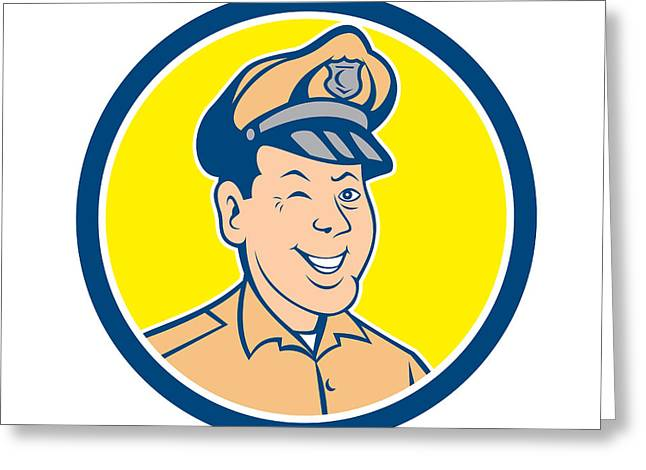 Police Cartoon Greeting Cards - Policeman Winking Smiling Circle Cartoon Greeting Card by Aloysius Patrimonio