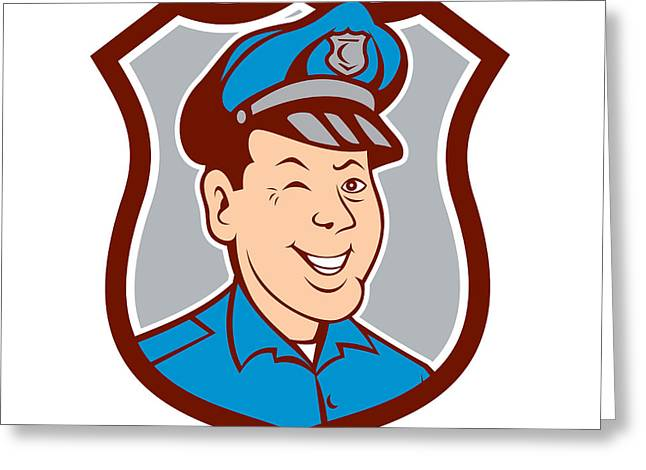 Police Officer Greeting Cards - Policeman Winking Smiling Shield Cartoon Greeting Card by Aloysius Patrimonio