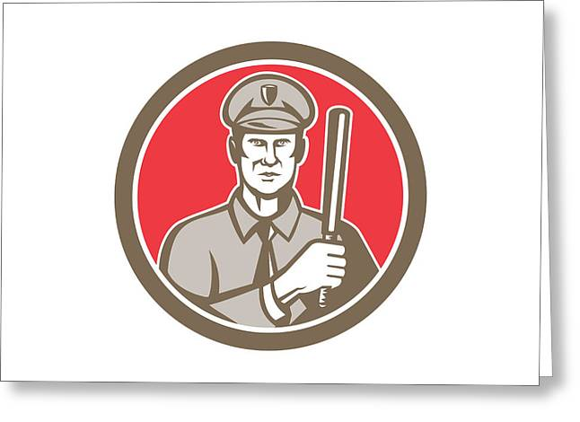 Police Baton Greeting Cards - Policeman With Night Stick Baton Circle Retro Greeting Card by Aloysius Patrimonio
