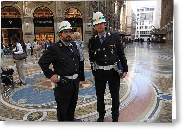 Print On Canvas Greeting Cards - Policemen in Milan Greeting Card by Dotti Hannum