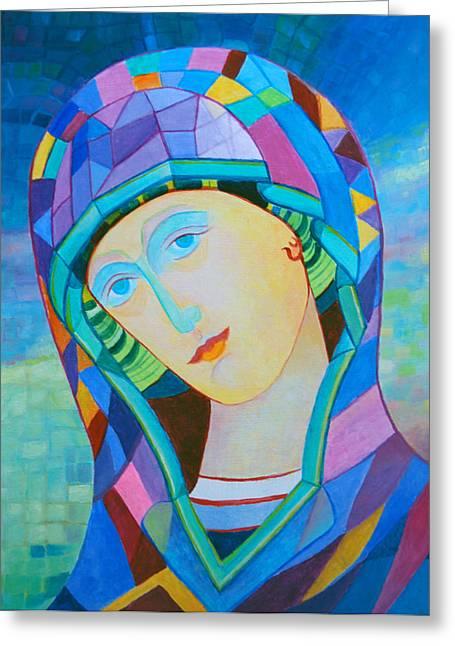 Byzantine Mixed Media Greeting Cards - Polish Madonna contemporary icon Greeting Card by Magdalena Walulik