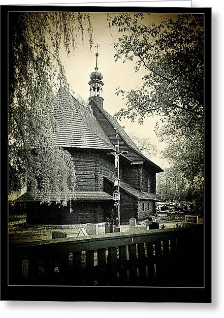 Medieval Temple Greeting Cards - Polish Wooden Church lomo Greeting Card by Weston Westmoreland