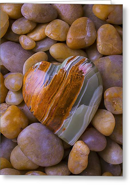 Geology Photographs Greeting Cards - Polished Heart Stone Greeting Card by Garry Gay